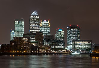 London Borough of Tower Hamlets - Canary Wharf, world headquarters of numerous major banks and professional services firms