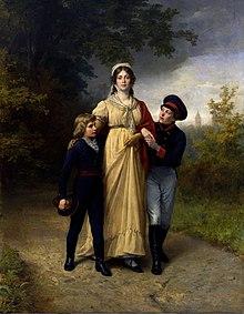 Königin Luise mit Prinz Wilhelm (links) und Kronprinz Friedrich Wilhelm (rechts), Gemälde von Carl Steffeck, 1886 (Quelle: Wikimedia)