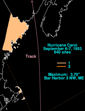 Hurricane Carol (1953) - Rainfall from Carol in New England