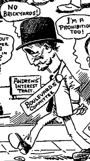 """Hadacheck v. Sebastian - Los Angeles Times caricature of Josias J. Andrews with """"Andrews Interest Tract"""" sign in background, 1910"""