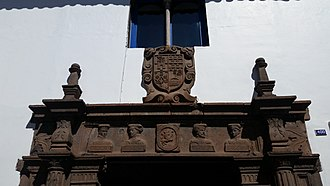 Juan Pizarro (conquistador) - Casa De Los Cuatro Bustos lintel depicting the four Pizarro brothers, Cusco