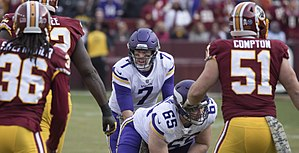 Case Keenum - Keenum behind the center against the Redskins in 2017