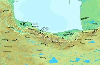 Ardashir I (Bavandid ruler) - Map of northern Iran