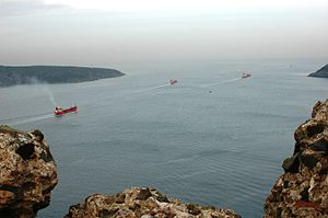 Yoros Castle - The confluence of the Bosphorus and the Black Sea, as seen from Yoros Castle, revealing its highly strategic location.