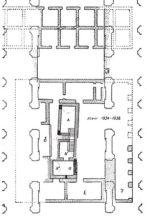 Castra Nova equitum singularium - Plan of the archaeological remains of the fort. After Collini 1944.