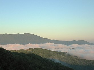Black Mountains (North Carolina) - Celo Knob (left) and  Little Celo (far right), viewed from Woody's Knob