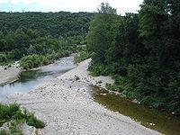 Cendras (Gard, Fr), le Galeizon débouchant dans le Gardon d'Alès.JPG