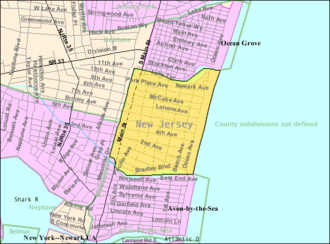 Bradley Beach, New Jersey - Image: Census Bureau map of Bradley Beach, New Jersey