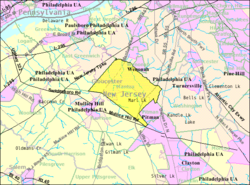 Census Bureau map of Mantua Township, New Jersey