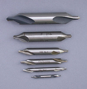 Drill bit sizes - Center drills, numbers 1 (bottom) through to 6 (top)