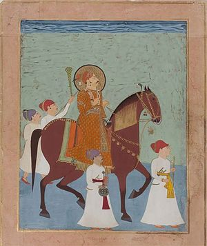 Lakhpat - Ceremonial Horseback Portrait of Prince Lakhpatji of Kutch with Four Attendants. Kutch or Nagaur, c.1750
