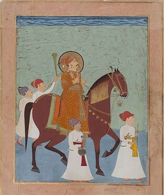 Lakhpatji - Ceremonial Horseback Portrait of Prince Lakhpatji of Kutch with Four Attendants. Kutch or Nagaur, c.1750