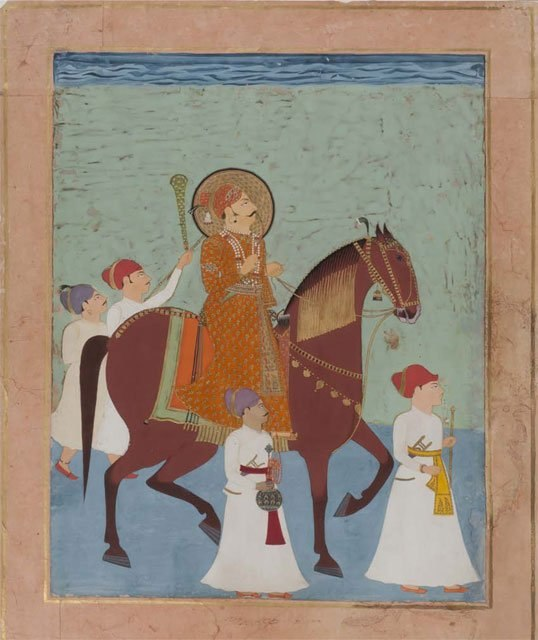 Ceremonial Horseback Portrait of Prince Lakhpatji of Kutch with Four Attendants. Kutch or Nagaur, c.1750