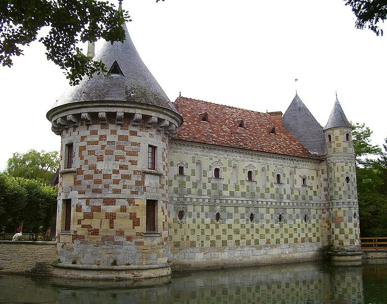 The part of stone and green glazed bricks of the Château de Saint Germain de Livet was built at the end of the 16th century. It's situated in Saint-Germain-de-Livet in the département Calvados in the Basse-Normandie in France.