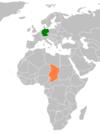 Lage von Deutschland und Tschad
