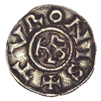 Denier from the era of Charlemagne, Tours, 793-812 Charlemagne denier Tours 793 to 812.jpg