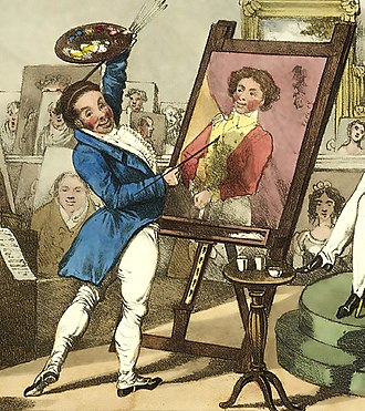 Charles D'Oyly - Tom Roe sits for his portrait in Chinnery's studio by Charles D'Oyly, 1828