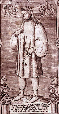 Engraving of Chaucer from Speght's edition