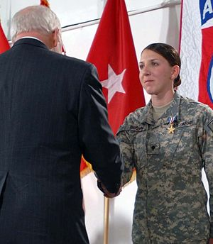Monica Lin Brown - Brown receives the Silver Star from Vice President Dick Cheney in March 2008.