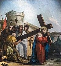Chiesa di San Polo (Venice) - VIA CRUCIS V - Simon of Cyrene helps Jesus carry the cross by Giandomenico Tiepolo.jpg