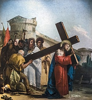 Chiesa di San Polo (Venice) - VIA CRUCIS V - Simon of Cyrene helps Jesus carry the cross by Giandomenico Tiepolo