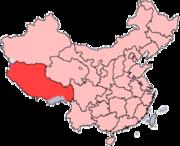 Localização do Tibete enquanto região da R.P.China. (quando a China invadiu o Tibete, incorporou-o como região autónoma)