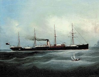 """Ellerman Lines - Image: Chinese School 19th century The British steamer """"City of Cambridge"""" in Chinese Waters"""