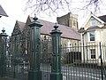 Christ Church and park gates, Caerfyrddin-Carmarthen - geograph.org.uk - 300441.jpg