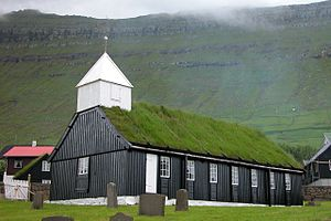 Church of the Faroe Islands - The old wooden church of Gøta.