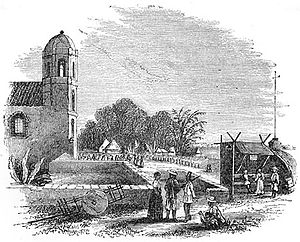 Pandacan - Church of Pandacan - Vicinity of Manila, early 1800s. Original caption: Église de Pandacan—Environs de Manille. From Aventures d'un Gentilhomme Breton aux iles Philippines by Paul de la Gironière, published in 1855.