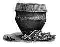 Cinerary urn and remains of charred bones found in Ayreshire. Wellcome M0011786.jpg