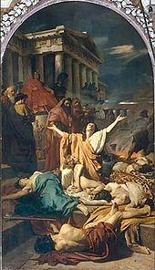 Cüppeli bir kadın, alınlıklı bir tapınağın basamaklarına serpiştirilmiş cesetlerin üzerine keder içinde ellerini kaldırırken, oturan bir adam ise oturur ve arka plandan gözlemler.