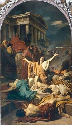 Acra (fortress) - Antonio Ciseri's Martyrdom of the Maccabees (1863), depicting an episode from Antiochus IV's (seated) persecution of the Jews.