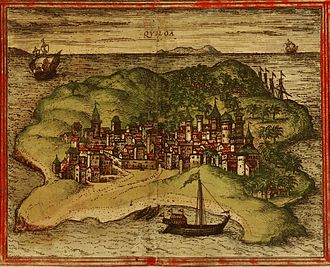 Kilwa Kisiwani - A 1572 depiction of the city of Kilwa from Georg Braun and Frans Hogenberg's atlas Civitates orbis terrarum.