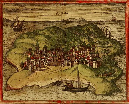 A 1572 depiction of the city of Kilwa, a UNESCO World Heritage Site City of Kilwa, 1572.jpg