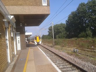 Broxbourne railway station - British Rail Class 379 on a Sunday service to Stratford