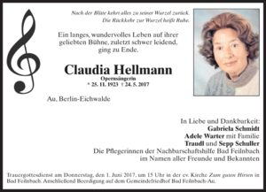 Claudia Hellmann - Death notice of Claudia Hellmann