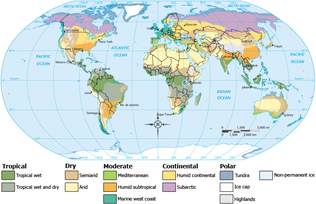 Map of world dividing climate zones, largely influenced by latitude. The zones, going from the equator upward (and downward) are Tropical, Dry, Moderate, Continental and Polar. There are subzones within these zones.
