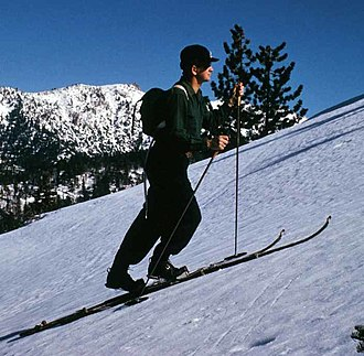 Snow Valley Mountain Resort - Skier en route to Slide Peak in 1943, following the current chairlift route