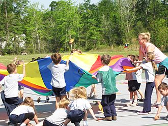 Lack of physical education - Elementary students playing with a parachute in their physical education class in Leland, North Carolina, USA.