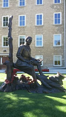 Colonel John McCrae statue at Guelph Civic Museum unveiled in 2015.jpg