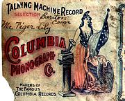 Portion of the label on the outside of a Columbia Records cylinder package, before 1901. Note the title of the recording is hand written on the label.