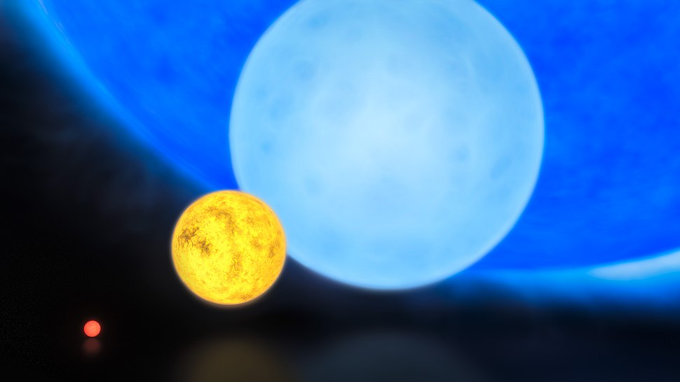 Comparison of the sizes of a red dwarf, the Sun, a B-type main sequence star, and R136a1