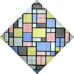 Compositie met raster 6: ruit, compositie met kleuren
