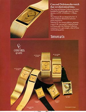 Concord watch - An ad for Tiffany and Co of the Concord Delirium. Dubbed the world's thinnest watch it ranged from $4,900 to over $20,000 for customized models with diamonds.