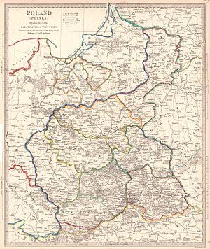 Administrative division of Congress Poland - Historical map showing the administrative division of Congress Poland, 1831.