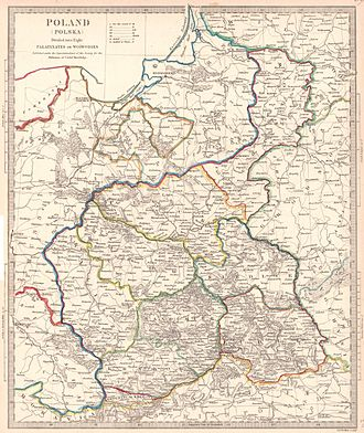 Administrative division of Congress Poland - Historical map showing the administrative division of Congress Poland, 1831.