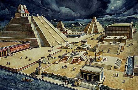 The city was the place of Mexico-Tenochtitlan, the Aztec capital. Conquista-de-Tenochtitlan-Mexico.jpg