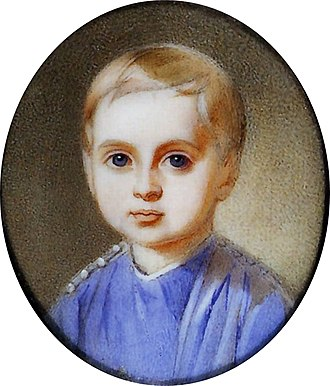Duke Constantine Petrovich of Oldenburg - Constantin of Oldenburg by Hau, 1853. At age 3, he is shown wearing the uniform of the Life-Guard's Semenovsky Regiment, a toy soldier unit for the children of nobility.