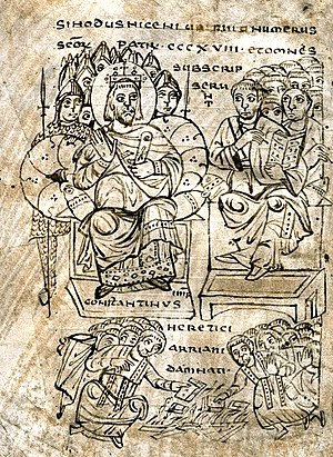 Arius - Constantine I burning Arian books, illustration from a book of canon law, ca. 825